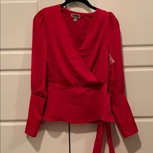 NWT red tie blouse